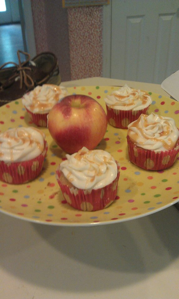 Caramel Apple:apple cake with caramel frosting filled and topped with caramel